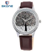 SKONE Tree Dial Relojes Correa de Cuero de Las Mujeres Rhinestone Señoras Reloj Superior de La Manera Relogios Feminino Mujer reloj de Cuarzo