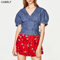 Summer New European Jeans Ladies Shirt Fashion Waist Puff Sleeve Short Denim Tops V Neck Blouse