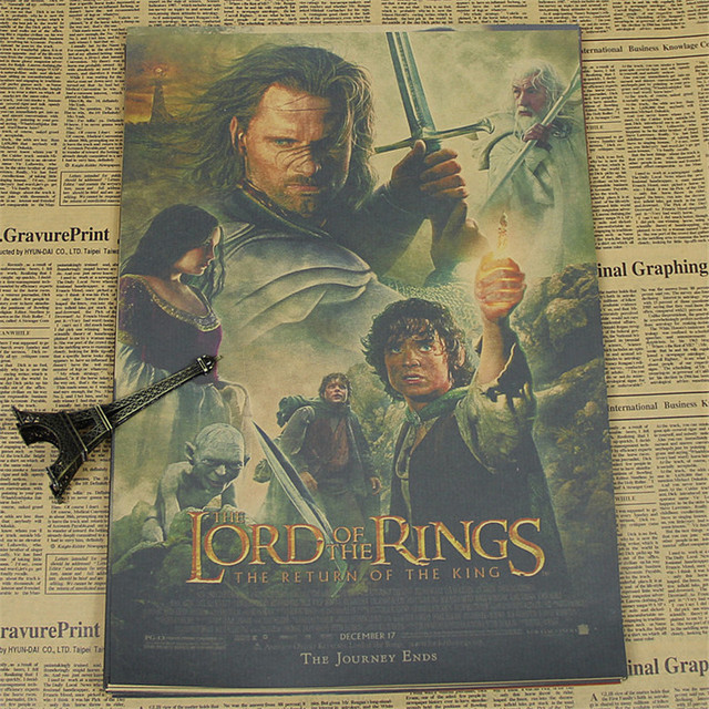 Vintage Classic Old Kraft Paper Poster The Lord Of The Rings Wall Sticker Nostalgic  Home Decor