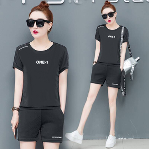 Black Tracksuits for Women Outfit Short Pants and Top 2 Piece Set Mini Sportswear Co-ord Plus Size Large 2019 Summer Clothing