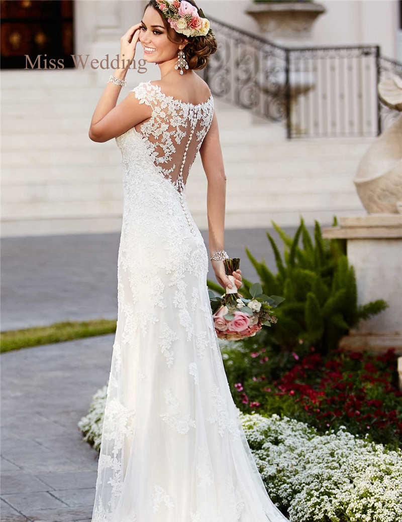 Luxury Lace Cap Sleeve Wedding Dress Gorgeous Scoop Neckline Illusion Back Hem Court Train White Ivory Sheath Bridal Gown In Dresses From