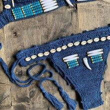 Blue Shell Beaded Bikinis Set