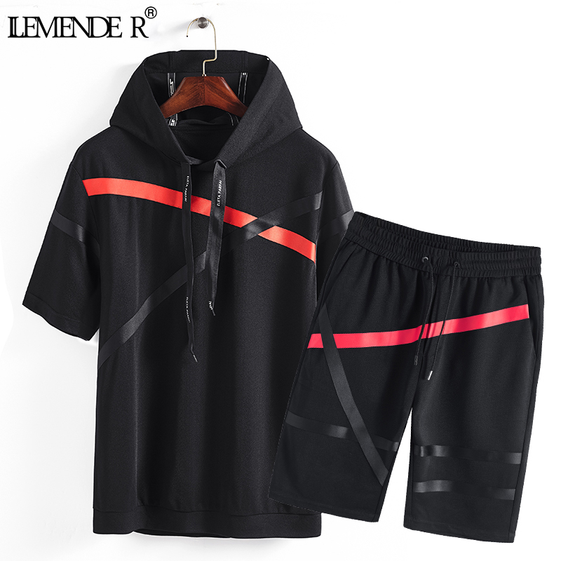 Brand Men Clothes 2018 New Fashion Summer Two Piece Tracksuit Mens Short Sets Casual Loo ...