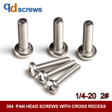 купить 304 1/4#2# Pan head screws with cross recess American Phillip Cross round head stainless steel screw ANSIB18.6.3P дешево