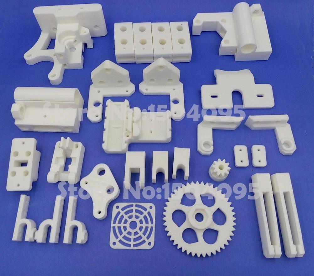 Free Shipping 1 Set RepRap Prusa Mendel i3 PLA Plastic Parts Kit DIY Prusa i3 Acrylic Frame 3D Printer Printed Parts - White