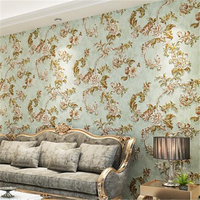 beibehang European style retro pastoral nonwovens wallpaper American bedroom ab edition living room TV background wallpaper
