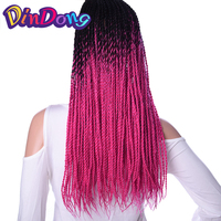 DinDong Senegalese Twist Hair Crochet 24 Inch Synthetic Ombre Crochet Braiding Hair Extensions 30 Roots 3