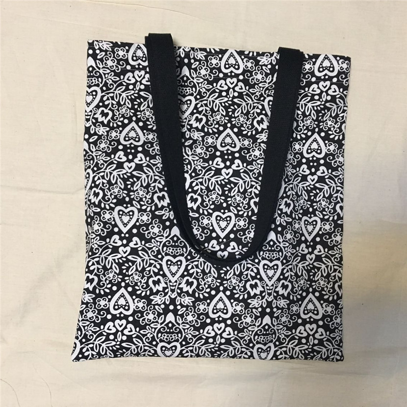 Unique Canvas Eco Shopping Tote Shoulder Bag Black White Heart Flower L8516-1