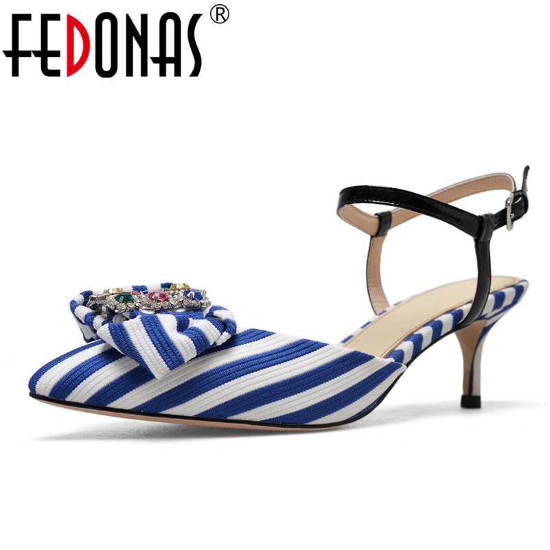 FEDONAS 2018 High Heel Sandals Women Ankle Strap Ladies Sexy Rhinestone Party Bowknot Prom Club Shoes Woman Pointed Toe Pumps new 2018 high heel shoes woman sandals rhinestone platform pumps high heeled 20cm summer women pumps fashion party prom shoes