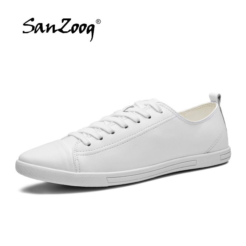 Solid White Black Leather Sneakers Casual White Shoes Men Flat Sports Shoes For Male Large Sizes 47