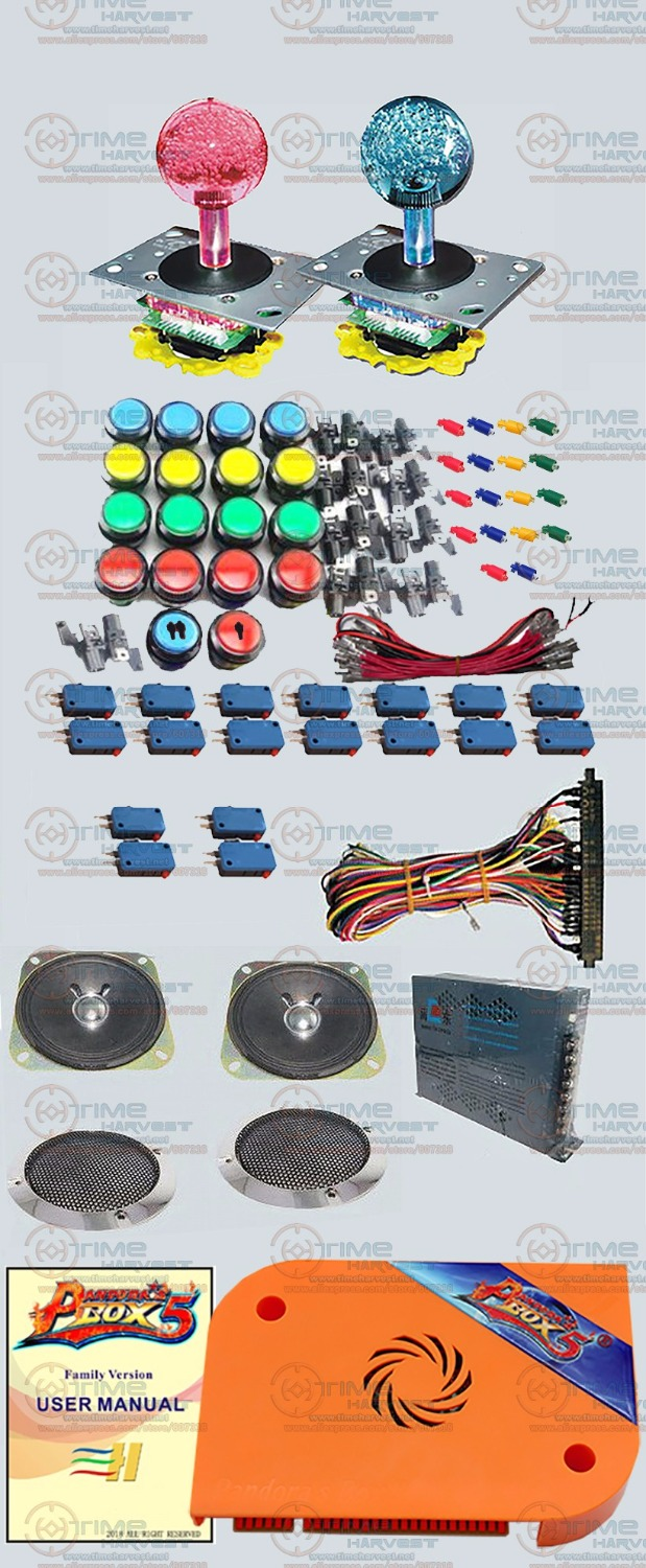 DIY Arcade Bundles kit With 815 in 1 Pandora Box 5 JAMMA version VGA & HDMI output LED illuminated Joystick black around buttons free shipping pandora box 4s 815 in 1 jamma mutli game board arcade mutligame pcb vga hdmi signal output for arcade game cabinet
