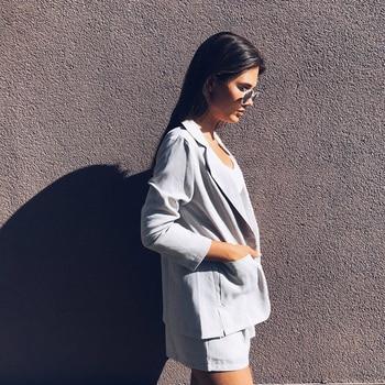 Cotton Linen Summer Suit Female 2 Pieces Set Tracksuit for Women Loose Blazer & Bow Elastic Waist Short Pant Suits High Quality 3