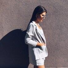 Cotton Linen Summer Suit Female 2 Pieces Set Tracksuit for Women Loose Blazer & Bow Elastic Waist Short Pant Suits High Quality