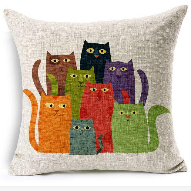 Τετράγωνο τυπωμένο λινάρι κάλυμμα μαξιλάρι πολύχρωμο γάτες γελοιογραφία διακοσμητικό καναπέ μαξιλάρι υπόθεση αυτοκίνητο σπίτι διακόσμηση 45cm * 45cm BZT-9
