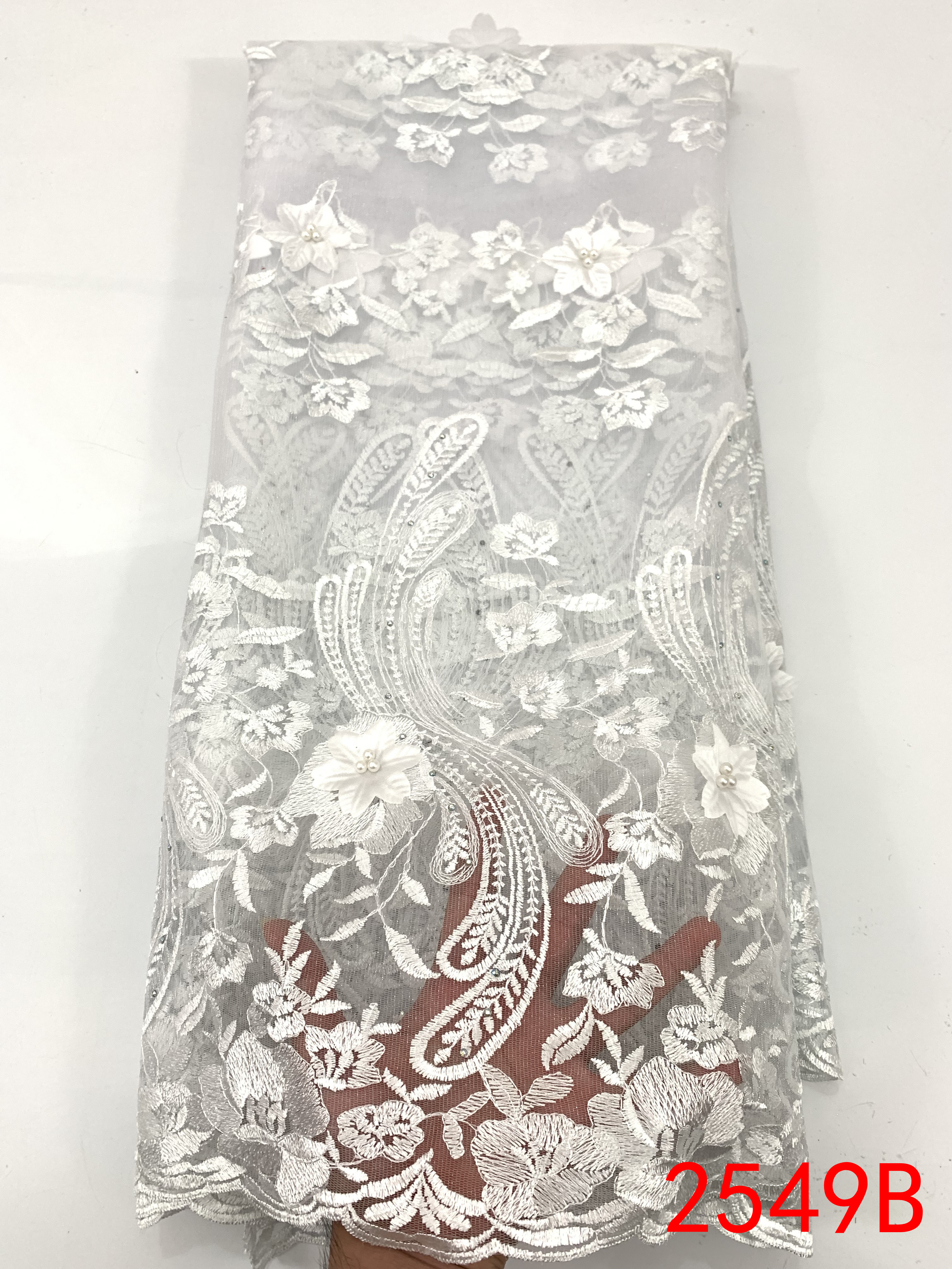 2019 French Lace Fabric High Quality 3D Flowers Embroidered African Tulle Lace Fabric Nigerian Laces Fabrics With Stones KS2549B