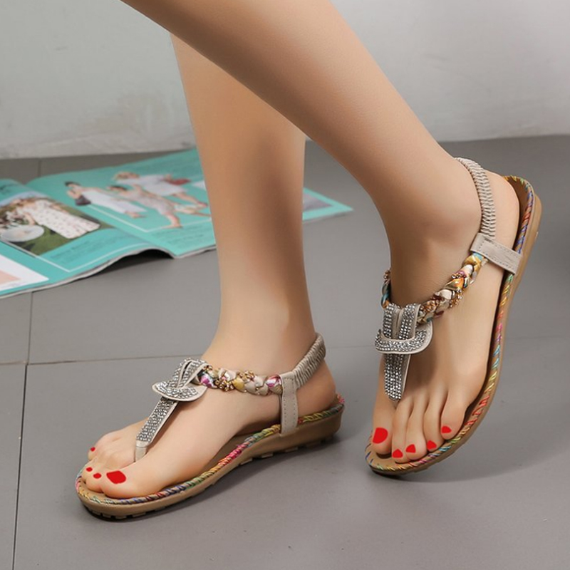VTOTA Bohemia Flat Sandals Flip Flops Women Shoes Summer Beach Shoes Casual Crystal Ladies Elastic Band Flats Female SandaliasVTOTA Bohemia Flat Sandals Flip Flops Women Shoes Summer Beach Shoes Casual Crystal Ladies Elastic Band Flats Female Sandalias