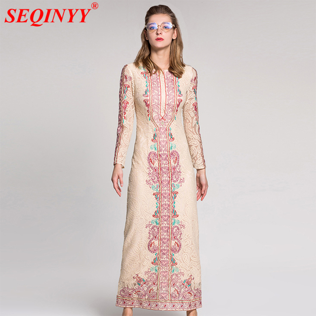 af03240dec62 Apricot Vintage Lace Dress Women 2018 Spring New Long Sleeve Hollow Out  Heavy Work Floral Embroidery Package Hip Slim Long Dress
