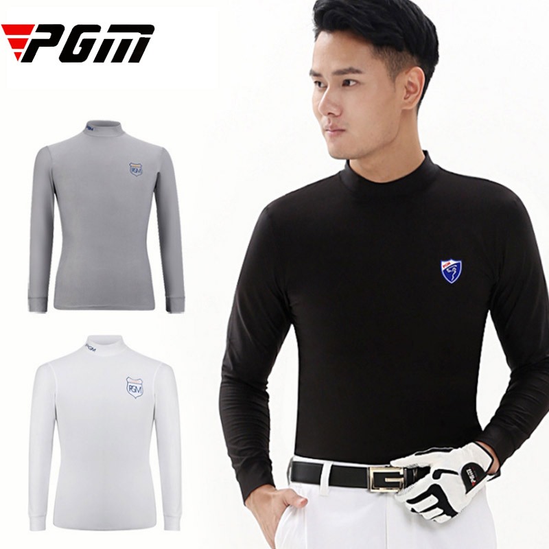 Brand sport Jersey warm Men Golf Shirt long Sleeve T-shirt Male soft Underwear Slim Comfortable Elastic Soft Black White M L XL