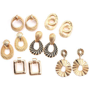 Vintage Earrings Geometric Fashion Jewelry Women Metal for Golden-Color Pendant Trend