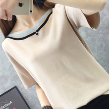 цена на New 2019 short-sleeved loose pullovers slash neck ice silk knitted women casual Korean tops T-shirt Sweater women G619