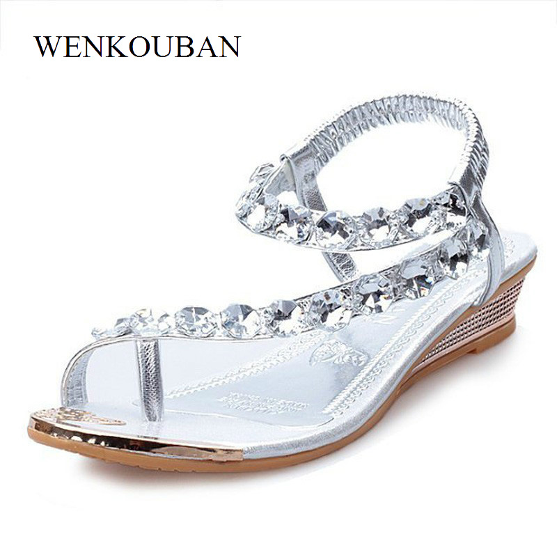 Beach Shoes Women Crystal Sandals Rhinestone Shoes Summer Gladiator Sandals Flip Flops Ladies Elegantes Sandalias Zapatos Mujer espadrilles retro gladiator sandals women genuine cow leather flip flops sandals lace up shoes black brown zapatos mujer