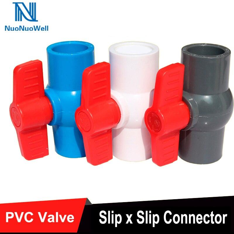 Sanitär 20mm X 20mm Rot Griff Doppel Ports Weiß Pvc Rohr Verbinden Ball Ventil Ventil