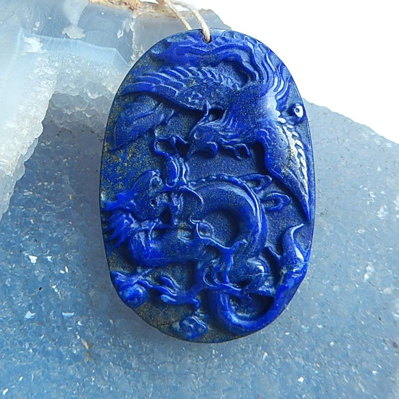 Natural Stone carved bird and carved dragon Lapis Lazuli Gift Necklace Pendant 48x33x7mm 21.2g fashion jewelry accessory party fashion natural stone 13x18mm lovely oval lapis lazuli stones beads chain necklace for women party wedding jewelry 18inch my5179