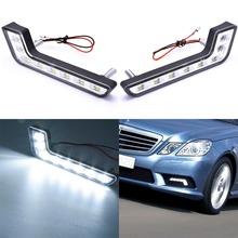2 #215 8 LED DRL do jazdy dziennej lampa czołowa L kształt światła przeciwmgielne biały zestaw 12V uniwersalny Car Styling do BMW Honda Benz światło do jazdy dziennej tanie tanio KaTur Światło dzienne Daytime Running Light 0 25kg fog light Universal Led Car Light 12 v 0inch