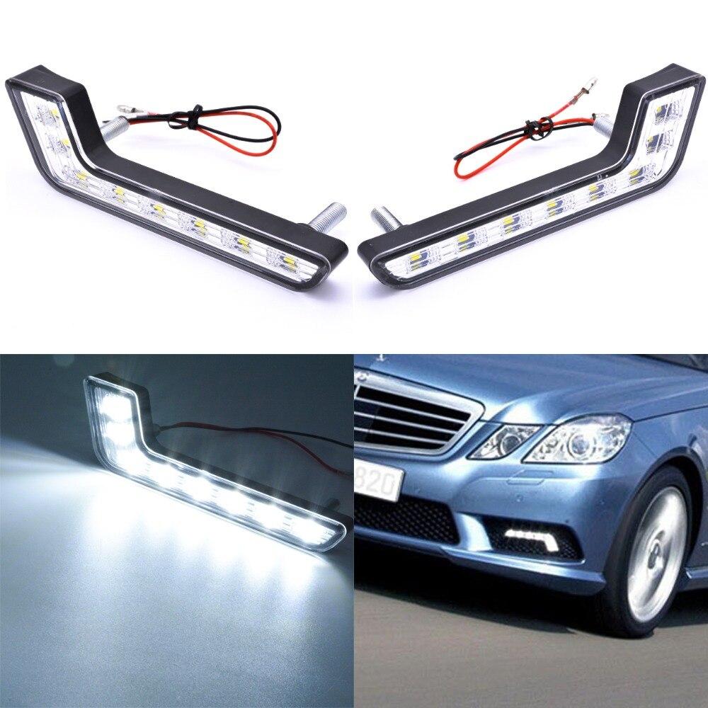 2x8 LED DRL дневные ходовые фары L форма Противотуманные фары белый комплект 12 В Универсальный Автомобильный Стайлинг для BMW Honda Benz дневной свет