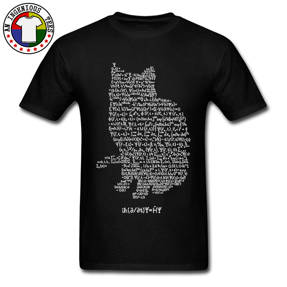 Maxwell Cat Quantum Mechanics Equation Theory T Shirts Physics And Mathematics Math Funny Cat Tshirt Oversized Men Europe Size