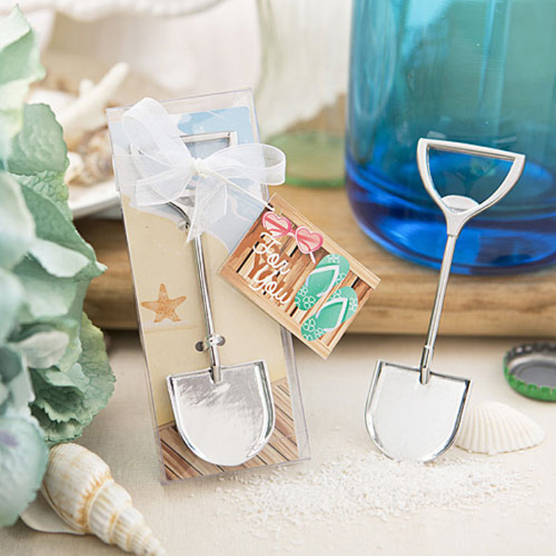 Us 17 57 5 Off 10pcs Lot Beach Wedding Favors Chrome Sand Shovel Design Wine Bottle Opener Party Giveaway Gift For Guest In Party Favors From Home