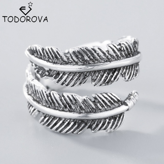 Todorova 925 Sterling Silver Do The Old Feather Open Rings for Women Ancient Sty