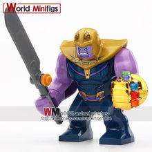 Single Sale Super Heroes s Thanos Infinity Gauntlet With Stones Vision Iron Man Building Blocks Children Gift Toys(China)
