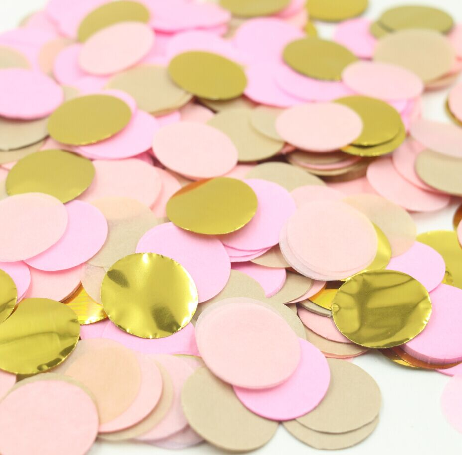 5000pcsbag Pink and Gold Tissue Paper Confetti 1 inch Circles