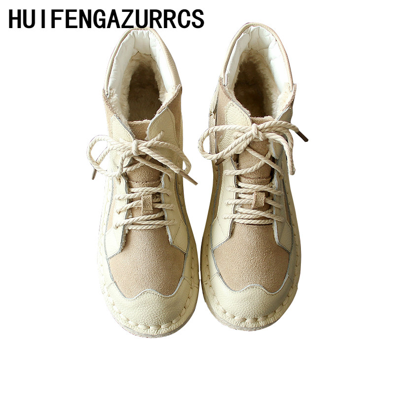 HUIFENGAZURRCS-Hots,2019 winter new pure handmade super soft bottom real cowhide ankle boots, women flat casual boots,3 colors