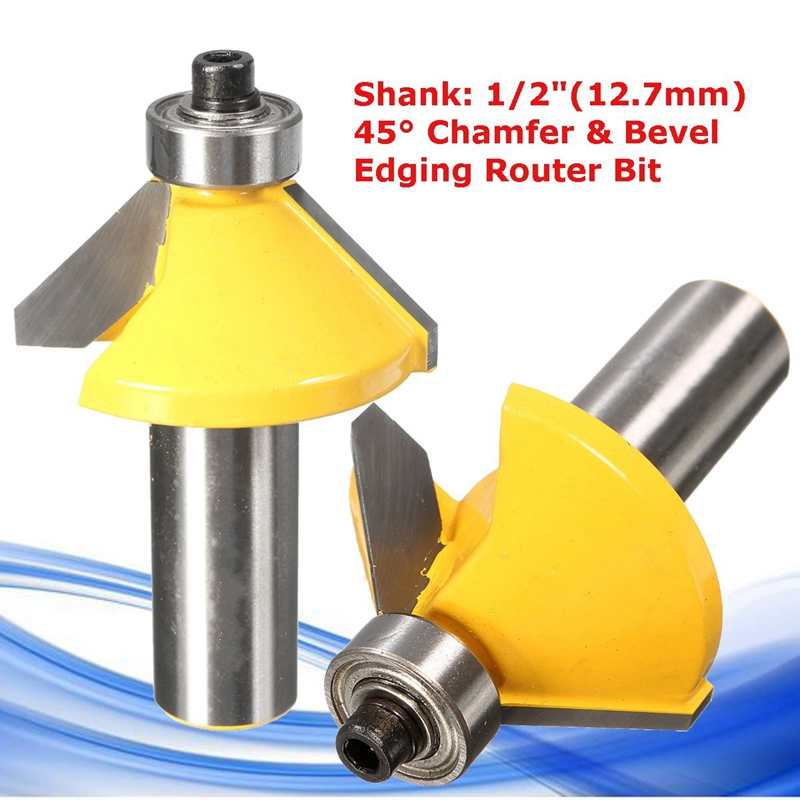 45 Degree Chamfer & Bevel Edging Router Bit-1/2 Inch Shank 2-1/4 Inch (57mm) Wood Cutter For WoodWorking 30 degree 1 2 inch shank router bit milling cutters for wood woodworking drill bevel edging for wood tool