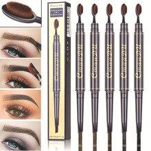 Double Eyebrow Pen with Brush Toothbrush Head Pencil Multifunctional Waterproof Long Lasting Enhancer Makeup