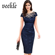 VEEKLE Vintage Women Summer Bodycon Crochet Embroidery Lace Ruched Pencil Office Dress Party Evening Plus Size