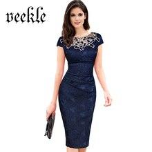 VEEKLE Vintage Women Summer Bodycon Crochet Embroidery Lace Ruched Pencil Office Dress Party Evening Plus Size Vestido De Festa