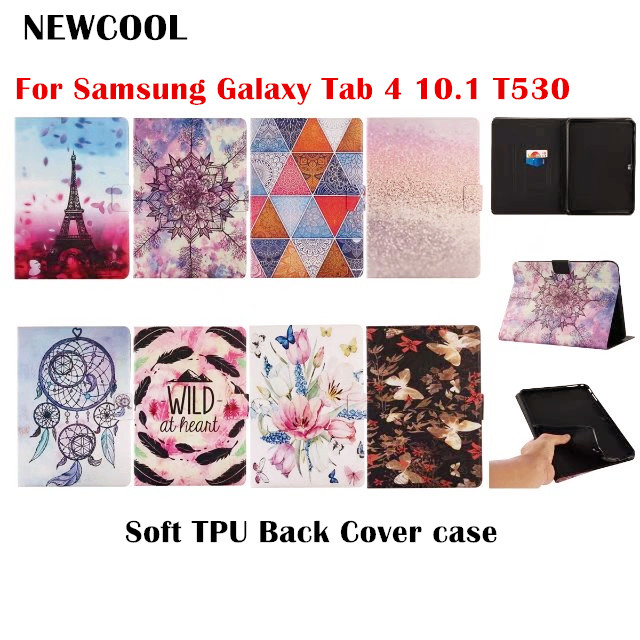 Cartoon Flip Cover PU Leather case For Samsung Galaxy Tab 4 Tab4 10.1 T530 T531 T535 Tablet Case + Soft TPU Back Cover case DD tx flip pu leather with soft tpu back cover card holder case for samsung galaxy tab 3 8 0 inch t310 t311 t315 tablet cases