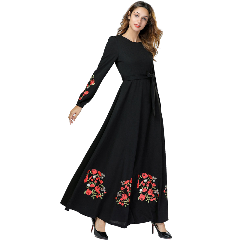 Image 3 - Black Vestidos Kaftan Abaya Dubai Arabic Hijab Muslim Dress Women Elbise Turkish Islamic Clothing Robe Musulmane Longue Dresses-in Islamic Clothing from Novelty & Special Use
