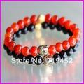 10pcs Black and Red Beaded Gold Buddha Stretch Bracelet Black Onyx, Red Dragon Veins Agate Semi Precious Stone