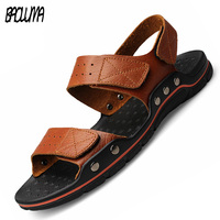 Brand Sandals Men Summer Flat Sandals Male Genuine Leather Casual Outdoor Beach Lightweight Shoes Breathable Slippers Size 48