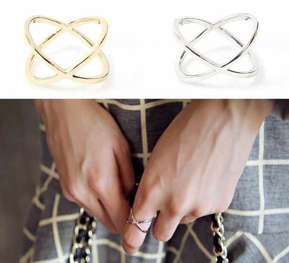Ring female x three-dimensional surround cutout cross joint jumper rings for women free shipping