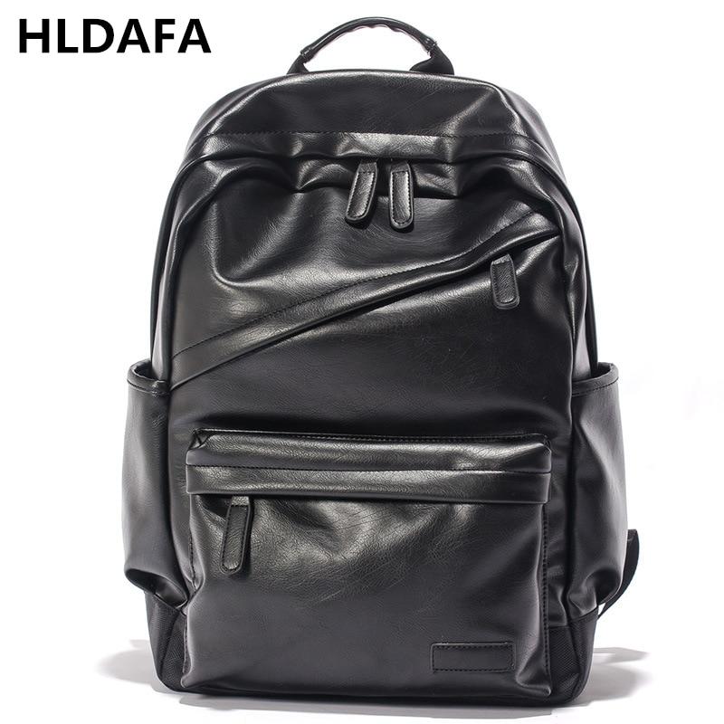 HLDAFA New Brand Waterproof 17 Inch Large Laptop Backpack Men Leather Pu School Bag Boys Casual Vintage Daypacks Mochila Male