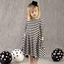 2018 Autumn New Fashion Elegant Girl Long Sleeve Striped Casual Dresses Children Chothing Girls Party Princess Dress For Child(China)