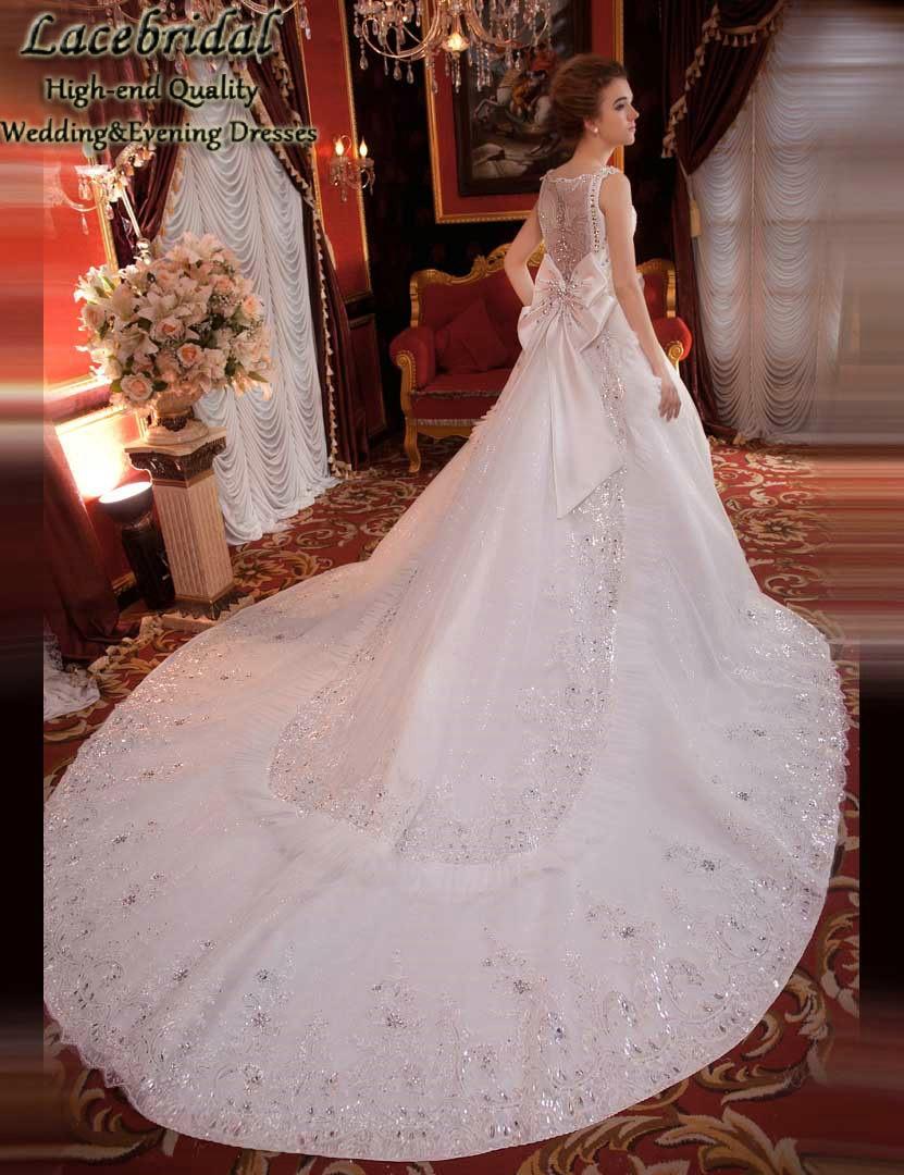 Luxury Ball Gown Cathedral Train Lace Beaded Diamond Rhinestone Wedding Dresses 2016 Long Bridal Gowns vestidos de novias XW131