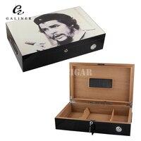 Che Guevara Cigar Humidor Genuine Spanish Cedar Wood Cigar Humidor Cigarette Storage Box w/ Built in Humidifier Hygrometer