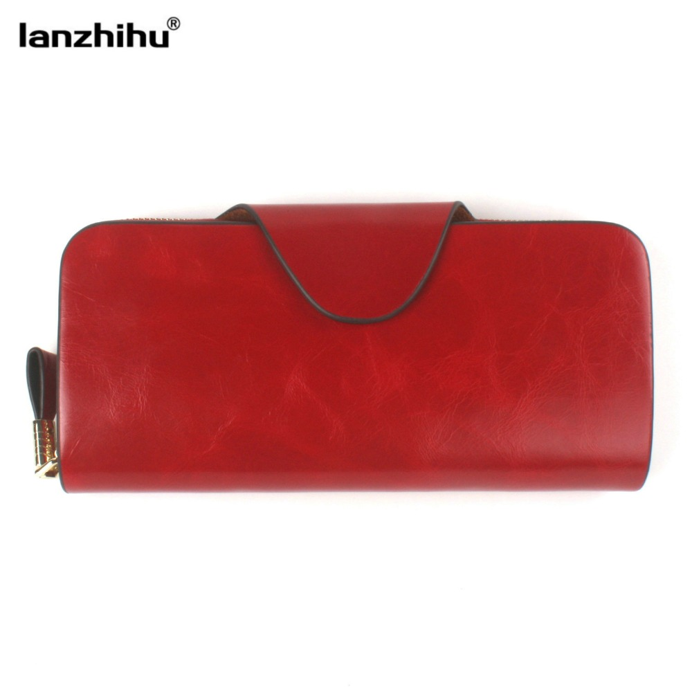 100% Oil Wax Cowhide Women Wallet Genuine Leather Vintage Long Credit Card Holder Money Bag Female Coin Purse Clutch for iPhone baellerry double zipper women business card holder wallet oil wax leather purse female name bank credit cards driver license bag