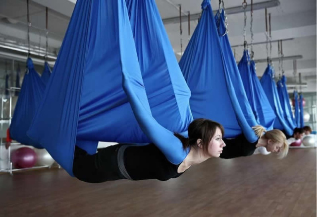 Medium image of elastic 5 meters 2017 aerial yoga hammock swing latest multifunction anti gravity yoga belts for